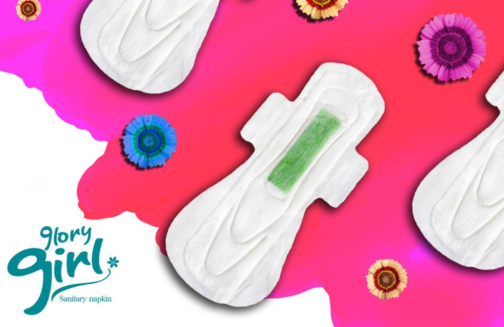 Female cotton sanitary pad with green anion chip