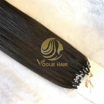 Double drawn black micro ring hair extensions
