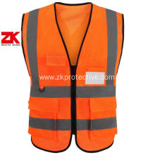 100% polyester orange hi vis vest multi pocket