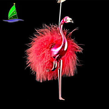Christmas Glass Flamingo Ornament