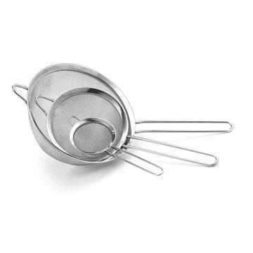 Fine Mesh Stainless Steel Strainer Set of 3 for Strain Pasta Noodles Quinoa Cocktails Tea Sift & Sieve Flour & Powdered Sugar