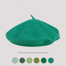 Autumn and Winter Green New Light Board Beret Casual Wild Elegant Painter Hat Fresh Pumpkin Hat Autumn and Winter