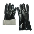 Black flannelette gloves with sand finish 27cm
