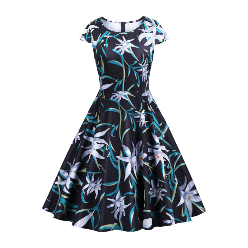 Waist Knee-LengthColorful Large Printed Fabric Retro Dress