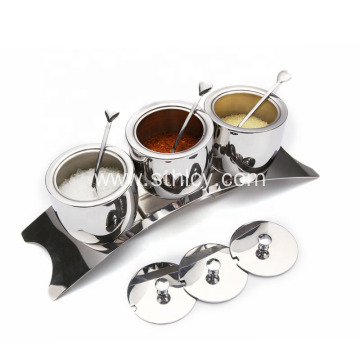3 Pieces Stainless Steel Seasoning Box with Spoon
