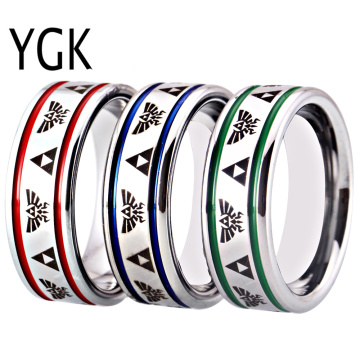 Legend of Zelda Rings for Men 8MM Tungsten Carbide Wedding Bands Ring Silver Pipe Blue/Green/Red Groove Women's Triforce Logo