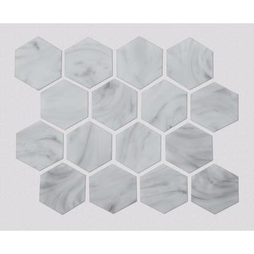 White Stone Hexagonal Pattern Glass Mosaic For Kitchen
