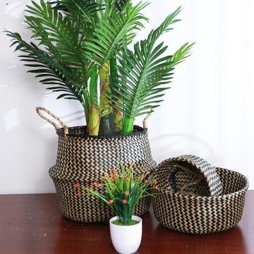 Seagrass Storage Basket Flower Pot Natural Rattan Basket Plant Pot Toys Holder Laundry Basket Container Home Debris Storage