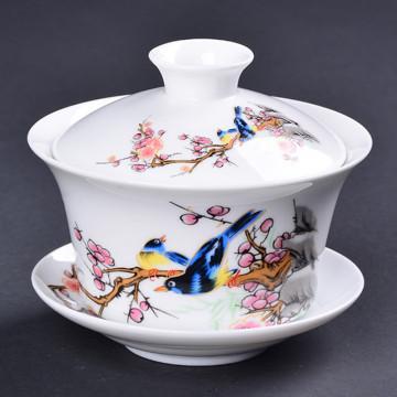 Garden Pastrol Gaiwan Porcelain Jingdezhen Sancai Cover Bowl Blue and White Ceramic Bird Tea Bowl Fish Tea Tureen Accessories