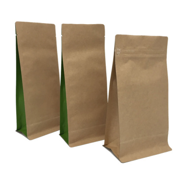 Organic Laminate Kraft Paper Flat Bottom Zipper Pouches