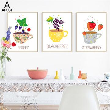 Fresh Fruit Cup Prints & Poster Straw Berry Lemon Berries Canvas Painting Kitchen Picture Canteen Bar Bubble Tea Shop Decoration