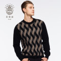 Mens pure cashmere crew neck jacquard sweater