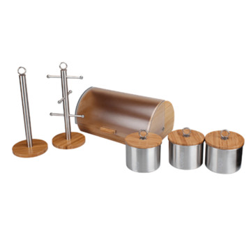 6pcs Kitchen Stainless Steel Bread Bin Set