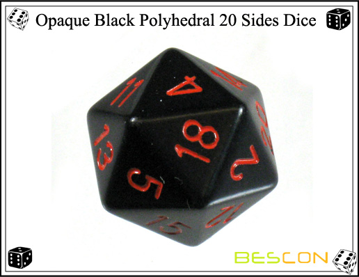 Opaque Black Polyhedral 20 Sides Dice