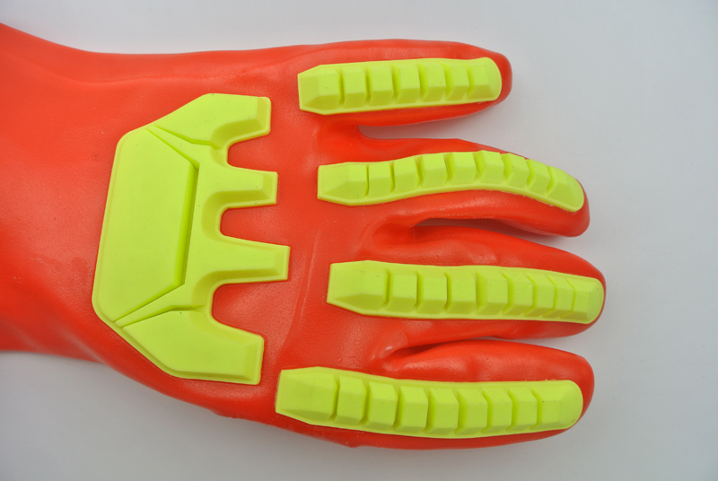 Fluorescent Red PVC coated gloves with TPR