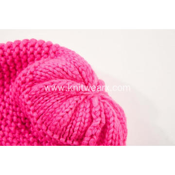 Girl's Knitted Colorful Pompom Winter Beanie Cap