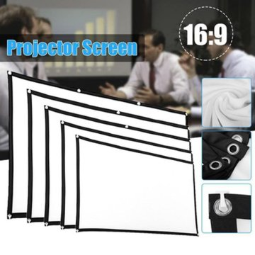 Soft 16: 9 Projection Screen Cloth 4K 3D HD Projector Movie Outdoor Screen 60/72/84/100/120/150 inch Foldable for Home Camping