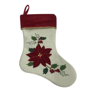 2020 Christmas stocking-decorated red flower