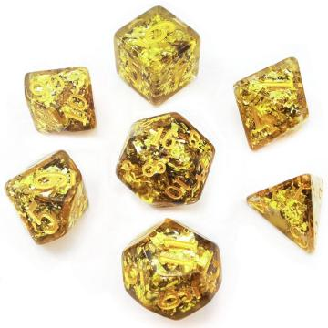 Bescon Dense-Core Polyhedral Dice Set of Golden, RPG 7-dice Set in Brick Box Packing