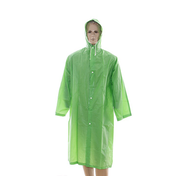 BSCI Audited Eco-friendly Waterproof PEVA raincoat with sleeves