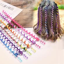 6PCS/Set Girls Cute Colorful Crystal Long Spiral Headbands Hair Bands Braid Hair Ornament Hairband Kids Fashion Hair Accessories
