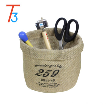 the jute made water proof storage bucket for sundries small storage box