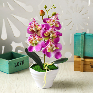 Bonsai Desktop Plants Potted Artificial Orchid Flowers Home Decoration Ornament