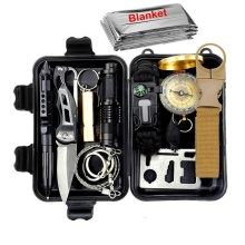 Survival kit set military outdoor travel mini camping tools aid kit emergency multifunct survive Wristband first aid kit bag