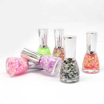 Pretty Plum Flower Glitter Nail Polish