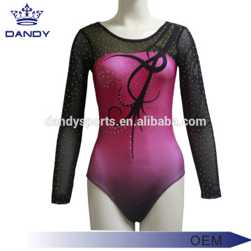 Pink Ombre Music Gymnastics Competition Leotards