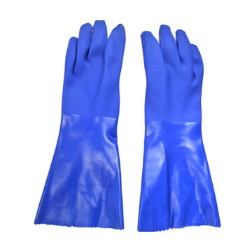 Blue PVC dipping Sandy finish Warm gloves 40cm
