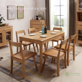 Light Solid Wood Rectangular Table for 6