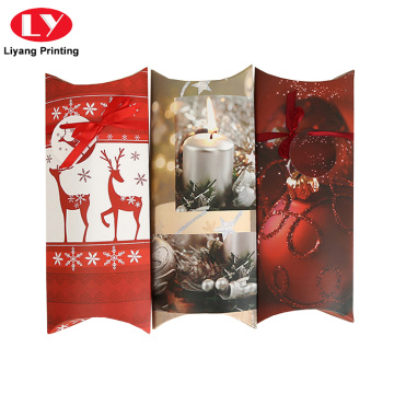 Custom Reding Christmas Red Paperow Pillow Box Packaging