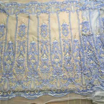 I-Sky Blue Handwork Beaded Embroidery Lace