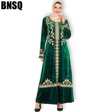 BNSQ Women Maxi Dresses Thickening Velvet Long Sleeve Premium Gold Embroidery Ethnic Winter Wear Female Stylish Dress Arab Abaya