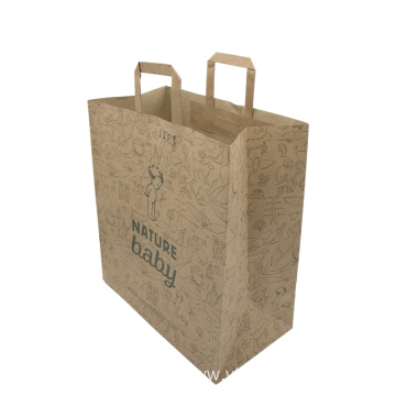 Customised Handle Brown Kraft Paper Bags Printing Logo