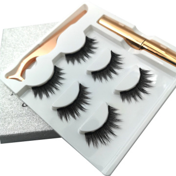 Three pairs magnetic eyelashes in silver box
