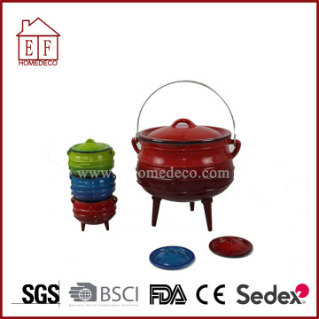 Enamel Three Leg Cast Iron Potjie for cooking