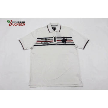100%Cotton YD Stripe Jersey With Big Embroidery Shirt