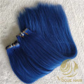 Thickness end Blue flat weft hair extensions