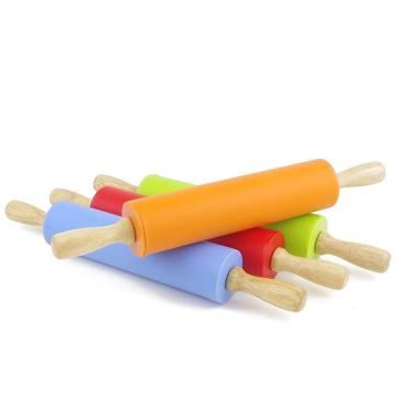 Silicone Rolling Pin wood handle