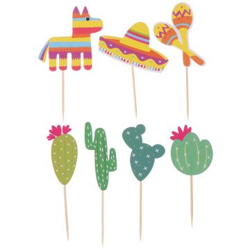 Alpaca Cake Decoration Insert Mexican Cactus Cake Insert Decoration Cake Inserts Card Party Gifts Kid Birthday Wedding Decor