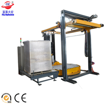 Automatic pallet wrapper with top sheet dispenser