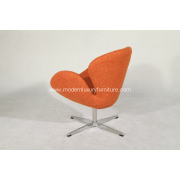 orange fabric swan chair with alu leg