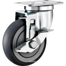4inch Swivel Gray Round TPR With Cover Castors With Side Brake