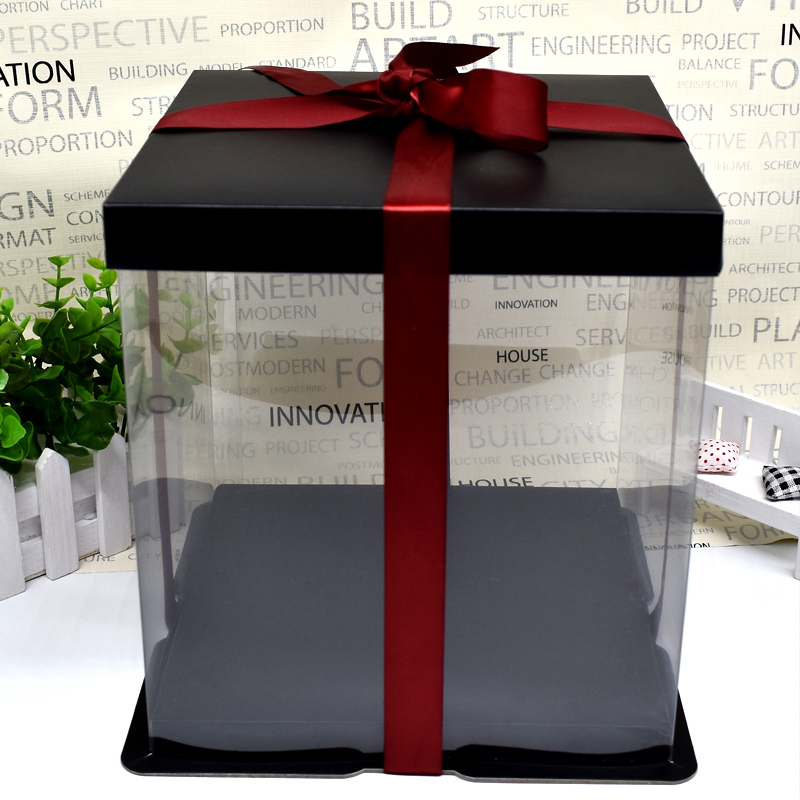 Black Cake Box Transparent Custome Made