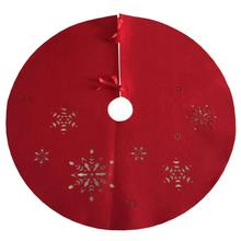 Christmas felt tree skirt with Hollow snowflake pattern