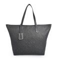 Large Capacity Weave Grain Genuine Leather Lady Handbag
