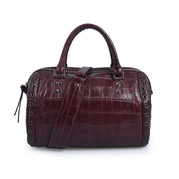 Casual Full Grain Crocodile Leather Cylinder Tote Bags