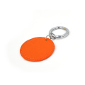 Ysure Round Shaped Saffiano Leather Keychain with Ring